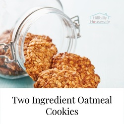 Two Ingredient Oatmeal Cookies - Glass Jar with homemade oat cookies spilling out.