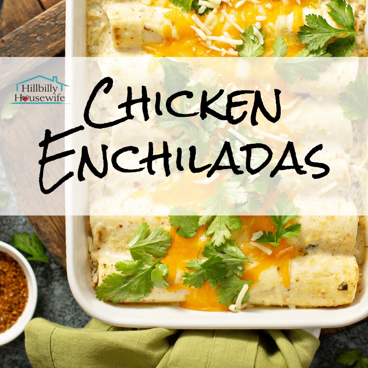 A dish of homemade chicken enchiladas covered in cheese